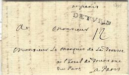 1735- Bureau Français à L'Etranger -  Lettre De DE TVRIN -taxe 12 Sols Pour Paris - 1701-1800: Vorläufer XVIII