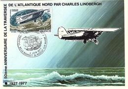 CM 47 - FRANCE Carte Maximum PA 50 Traversée De L'Atlantique Nord - 1970-79