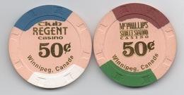 Lot De 2 Jetons De Casinos Winnipeg Canada : Club Regent Casino 50¢ & McPhillips Street Station Casino 50¢ - Casino