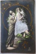 Photo Fond Noir Decor Art Nouveau DORURE  COUPLE HOMME FEMME AMOUREUX CATHERINE VALENTIN  Robe Paillettes - Saint-Valentin