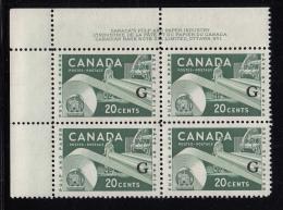 Canada MNH Scott #O45 'G' Overprint On 20c Paper Industry Plate #1 Upper Left Corner - Officials