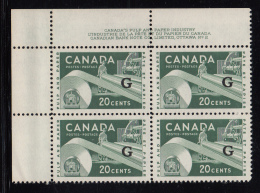 Canada MNH Scott #O45 'G' Overprint On 20c Paper Industry Plate #2 Upper Left Corner - Overprinted