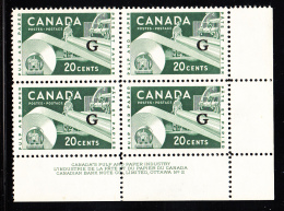 Canada MNH Scott #O45 'G' Overprint On 20c Paper Industry Plate #2 Lower Right Corner - Overprinted