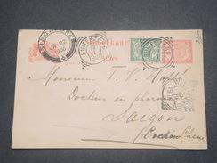 INDES NÉERLANDAISES - Entier Postal + Complément De Butenzorg Pour Saïgon Via Singapour En 1906 - L 8241 - Indes Néerlandaises