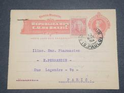 BRÉSIL - Entier Postal + Complément De Sao Paulo Pour La France En 1914 - L 8244 - Postal Stationery