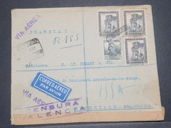 ESPAGNE - Enveloppe En Recommandé De Valencia + Censure Pour La France En 1937 - L 8249 - Marcas De Censura Nacional