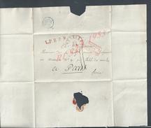LETTRE PAYS BAS PAR VALENCIENNES PETIT CACHET BLEU & CACHET ROUGE BRUXELLES TAXÉ PARIS NON ECRITE : - Postal History