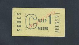 TICKET DE RATP METRO 1 : - Metropolitana