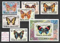 Insecte - Ras Al Khaima N°83 à 83B, PA N°91 à 91B, BF N°xx Papillon 1972 ** - Papillons
