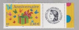 """Personnalisé  """" Anniversaire """"  3480 A  Vignette Cérès   Bords De Feuille Luxe XX   Année 2002 - Frankreich"""
