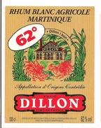 Etiquette Rhum Blanc Agricole - Dillon I Bon - 62°  - Distillerie Dillon, Fort De France - MARTINIQUE - - Rhum