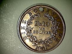 Bolivie 10 Bolivianos/1 Bolivar 1951 ( Troué ) - Bolivia