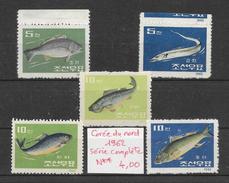 Poisson - Corée Du Nord N°395 à 399 1962 ** - Fishes