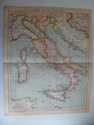 Lithographie Gravure Carte Plan 1905 Brockhaus Italie Ancien Temps Latium - Sicile Corse Sardaine - Cartes Géographiques