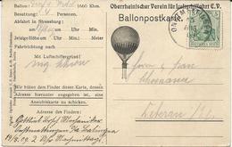 CARTE POSTALE TRANSPORTEE AVEC LE BALLON GRAF VON WEDEL AU DEPART DE STRASBOURG LE 14/08/1909 - Postmark Collection (Covers)