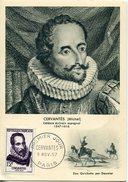 22057 France, Maximum 1957 Miguel De Cervantes, First Day Postmark Of Paris - Celebridades