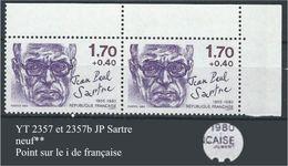 """Variétés YT 2357 Et 2357b """" JP Sarte """" Point Sur Le I - Errors & Oddities"""
