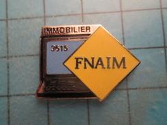 Pin517 Pin´s Pins : BEAU ET RARE :  INFORMATIQUE ORDINATEUR OU MINITEL FNAIM    Marquage Au Dos : -  ---  -   Le Carroya - Informatique