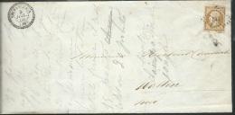 Avis De Deces , Affranchie Yvt N°13 Oblitéré Pc 847 Cad Type 22 Chevanceaux 5/07/1860 Pr Watten -aoa11001 - Marcophilie (Lettres)