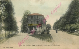 69.  POULE  ( Les Echarmeaux ) . Café DUPUIS à La Scierie .  CPA Animée Colrisée . - France