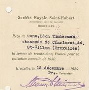 Carte Timbrée Société Royale Saint Hubert En 1929 Timberman - Belgio
