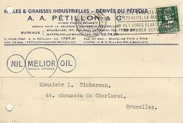 Carte Timbrée Huile Graisse Petillon à Bruxelles Et Waterloo Nil Melior Oil - Cars