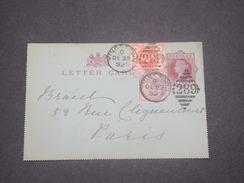 GRANDE BRETAGNE - Entier Postal + Complément De Kingstown Pour La France En 1892 - L 8295 - Covers & Documents