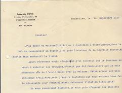 Courrier Concernant La Capote D'une Voiture D.K.W. En 1939 Veys - Cars