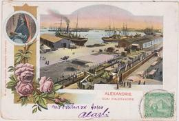 EGYPTE,EGYPT,ALEXANDRIE,ALEXANDRIEN,ALEXANDRIA,CARTE ANCIENNE AVEC TIMBRE 1900,QUAI,CARLO MIELI - Alexandria