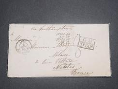 """FRANCE - Cachet D 'entrée """" ANGL. AMB. CALAIS """" En 1864 Sur Enveloppe Pour Nantes , Marques D 'echanges - L 8308 - Marques D'entrées"""