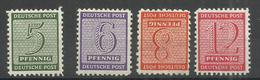 """Sowjetische Zone 120-123X""""Satz Kpl. Mit 4 Briefmarken Zahl Im Rechteck,WZ Fallend, L10 3/4 Gezähnt""""ungebraucht Mi.:63,00 - Zona Soviética"""