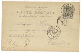 BASTIA Corse Sur Entier SAGE Pour Torino ITALIE. - 1877-1920: Période Semi Moderne