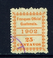 GUATEMALA  -  1902  Official  25c  Used As Scan - Guatemala