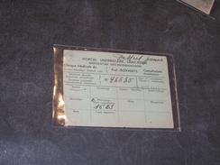 BRUXELLES - HOPITAL UNIVERSITAIRE SAINT-PIERRE - CARTE CONSULTATIONS GRATUITES POUR INDIGENTS 1941 - Historical Documents