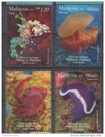 MALAYSIA, 2015, MNH, MARINE LIFE, JOINT ISSUE WITH THAILAND, CRUSTACEANS, SHRIMPS, CRABS, JELLYFISH, SEA SLUGS, 4v - Marine Life
