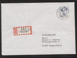 Bund - MiNr. 1614 Als EF Auf R-Brief Mit Einlieferungsschein, Gelaufen LINDLAR 22.11.1993 - Postagentur - [7] West-Duitsland
