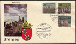 Germany Bonn 1965 / Bremen / Architecture / Monument / Hauptstädte Der Länder Der Bundesrepublik / Coat Of Arms - Covers