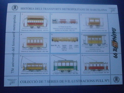 ESPAÑA . AÑO 1999. 3 HOJAS BARNAFIL 99. 75º ANIVERSARIO DE TRANSPORTES METROPOLITANOS DE BARCELONA - Spain