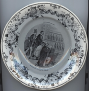 Assiette, Exposition De 1867,  Produits Français, , Vin, Vinicole, Bordeaux, ,Creil, Montereau, D = 20 Cm, Bordure Fleur - Creil Montereau (FRA)