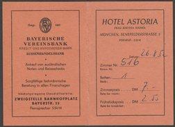 Hotel Charge Booklet, Hotel Astoria, München, Deutschland, 1952 - Sports & Tourism