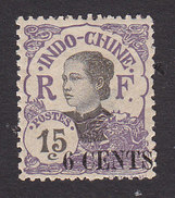 Indo-China, Scott #70, Mint Hinged, Woman Of Indo-China Surcharged, Issued 1919 - Indocina (1889-1945)
