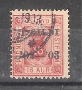 ISLAND / Islande 1902 SERVICE,Yvert N° 14B , Surchargé 1 GILDI Sur 16 A Rouge ,dentelé 14 X 13 1/2 Obl, TB - Officials