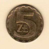 POLAND  5 ZLOTYCH 1986 (Y # 81.2) - Poland