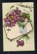 Bouquet De Violettes - Souvenir - Ruban Et Herbe Collés En Relief - LR1827 - Fleurs