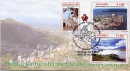 Lote 2396-2407F, Colombia, 2006, 4 SPD-FDC, Depto Del Valle Del Cauca, Dancing, Sugar Cane, Heraldryt, Railway Station - Colombia