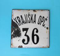 KRAJISKA OPC. 36 Vintage Enamel Porcelain Sign By Derencin, Susak - Croatia ( Yugoslav Kingdom ) PLAQUE ANCIENNE EMAILLE - Tobacco