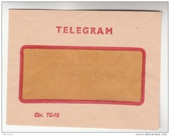 TELEGRAM ENVELOPE Obr.TG-10 Telegramme Cover - Telecom