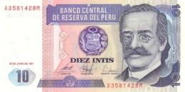 PERU 10 INTIS 1987 P-129 UNC  [ PE129 ] - Peru