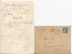 ILLIERS GEORGES PHILIP GREFFIER DE PAIX LETTRE ET ENVELOPPE AVEC CACHET ANNEE 1923 PUB AMERICAN YMCA - Sin Clasificación