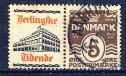 #Denmark Advertising Appendage Pair. BERLINGSKE TIDENDE. Cancelled. - Oblitérés